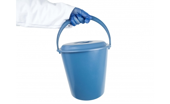 economy bucket in hand blue